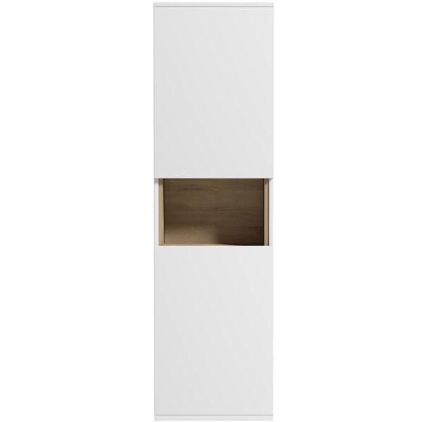 Mode Tate II white & oak wall hung cabinet 1400 x 400mm