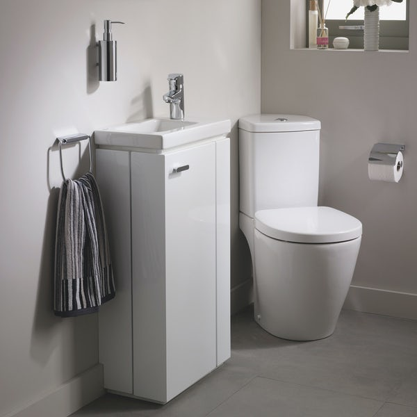 Ideal Standard Concept Space right handed cloakroom corner suite with vanity unit and basin