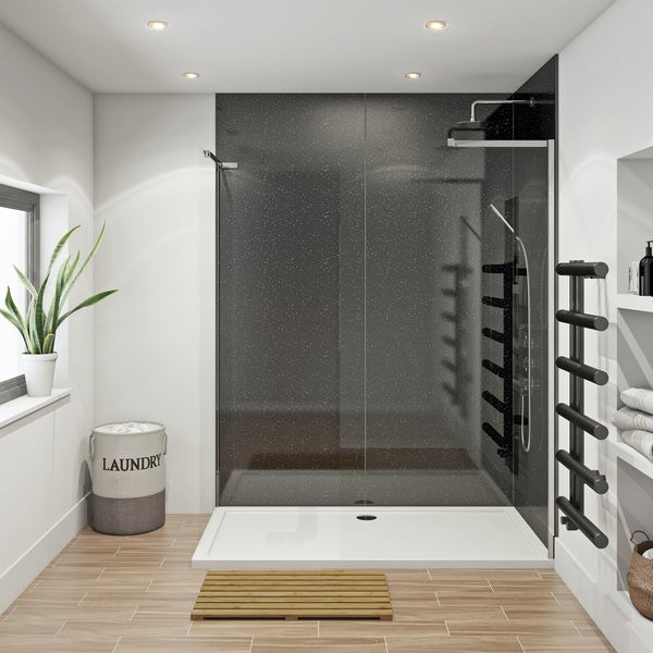Mode 8mm walk in shower enclosure pack 1700 x 700 with Multipanel Economy Moonlit quartz shower wall panels