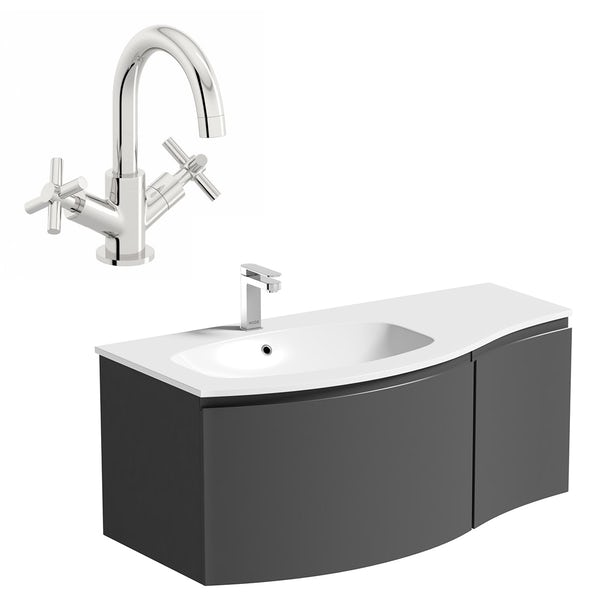 Mode Harrison slate gloss grey left handed wall hung vanity unit and basin 1000mm with tap