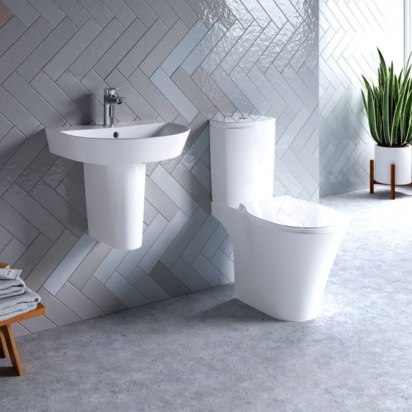 Ideal Standard Concept Air Arc open back toilet and semi pedestal suite 500mm