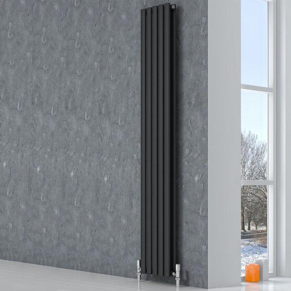 Reina Neva anthracite grey double vertical steel designer radiator