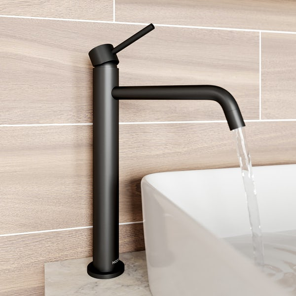 Mode Spencer round black high rise basin mixer tap