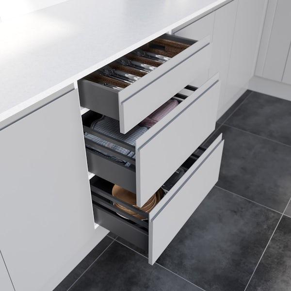 Schon Chicago light grey handleless 3 drawer unit
