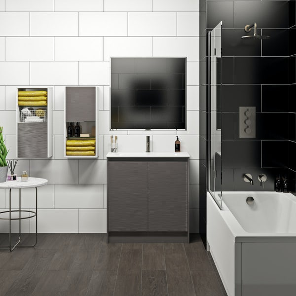 Mode Banks textured lava stone matt vanity unit 800mm
