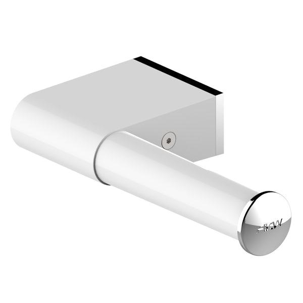 Akw Onyx Toilet Roll Holder White And Chrome Victoriaplumcom