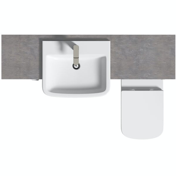 Reeves Wyatt onyx grey small fitted furniture combination with mineral grey worktop