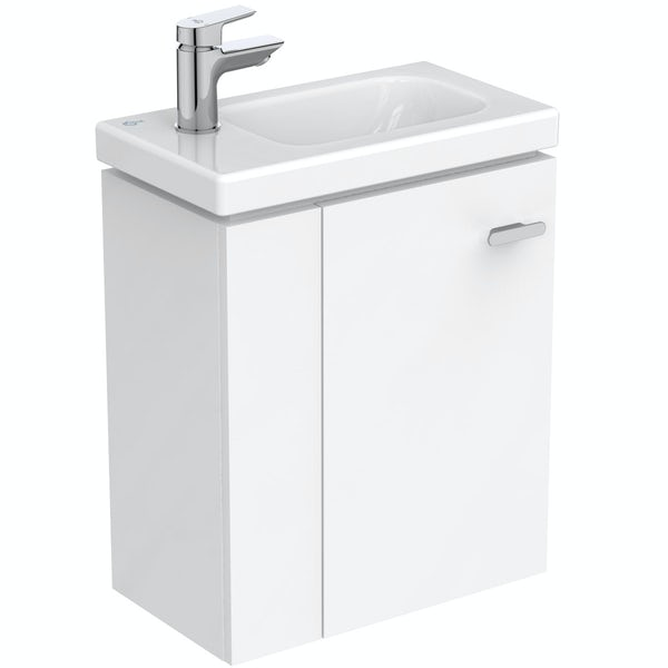 Ideal Standard Concept Space white left handed wall hung vanity unit and basin 450mm