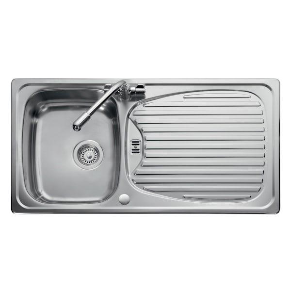 Leisure Euroline reversible stainless steel 1.0 bowl kitchen sink and Schon WRAS kitchen tap