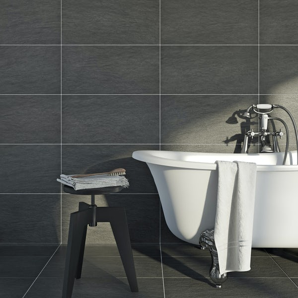 British Ceramic Tile Kaolin porcelain anthracite tile 310mm x 620mm