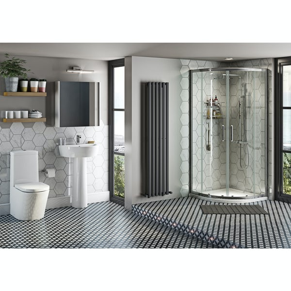 Mode Tate ensuite suite with quadrant enclosure, tray, shower and taps