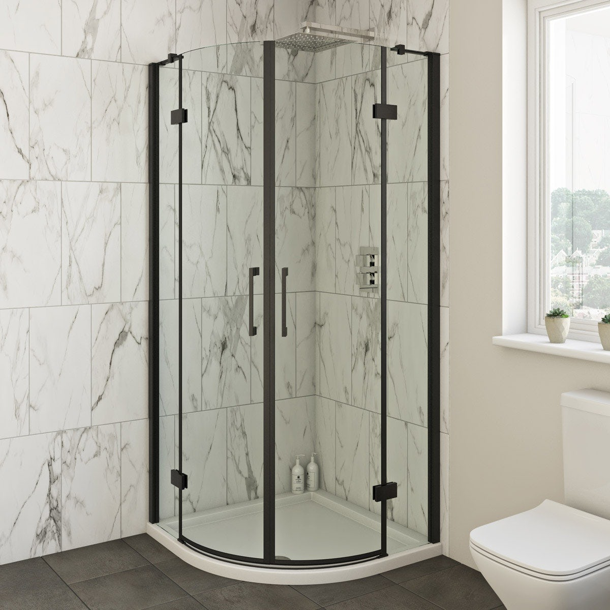 Shower Cubicles Plan: Mode Cooper Black Hinged Quadrant Shower Enclosure 900 X
