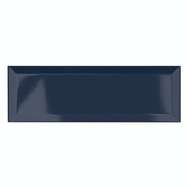 Maxi Metro midnight blue bevelled gloss wall tile 100mm x 300mm