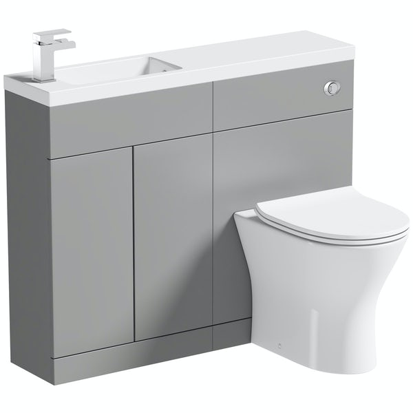 Orchard MySpace Slim stone grey combination with Derwent round toilet and soft close seat