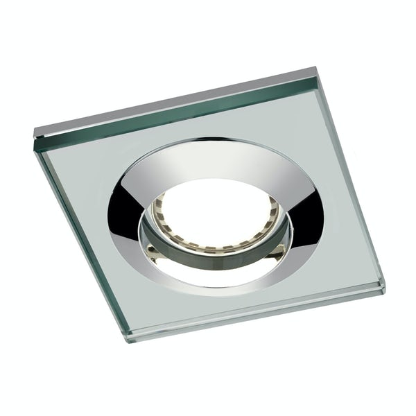 Square glass shower light with dimmable bulb in warm white