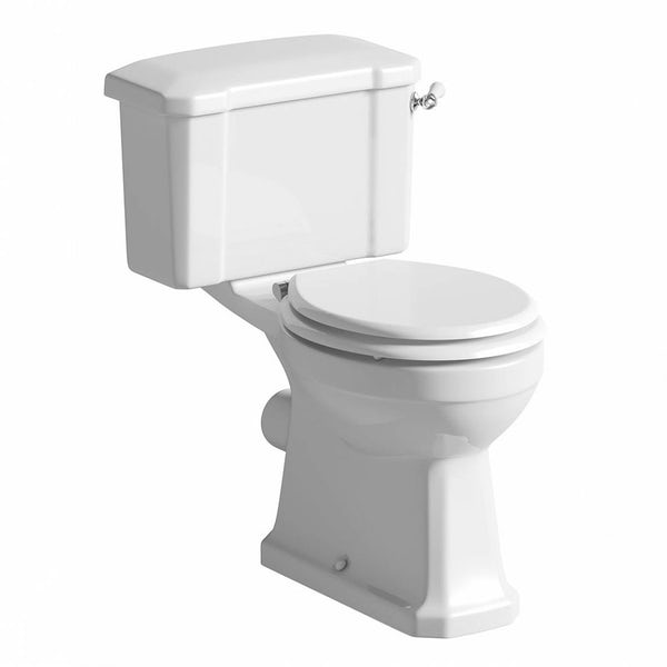 The Bath Co. Camberley close coupled toilet with wooden soft close seat white