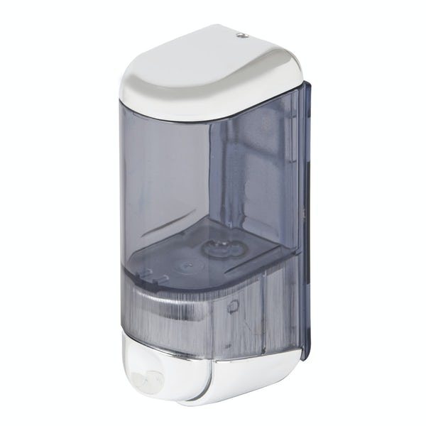 Dolphin commercial white plastic mini soap dispenser
