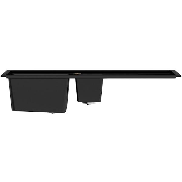Bristan Gallery quartz black easyfit kitchen sink 1.5 bowl with right drainer