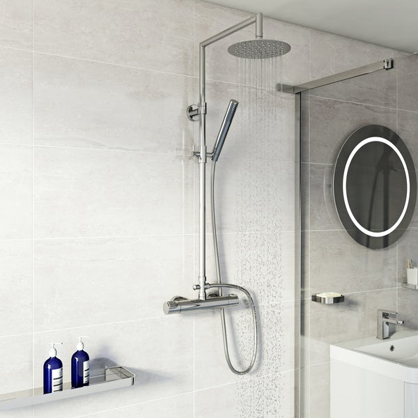 Mode Cool Touch square thermostatic exposed mixer shower with round shower head
