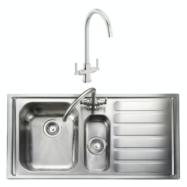 Rangemaster Manhattan 1.5 bowl right handed kitchen sink with waste kit and Schon C spout WRAS kitchen tap