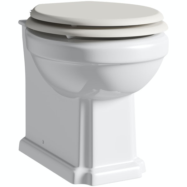 The Bath Co. Dulwich back to wall toilet with ivory wooden seat