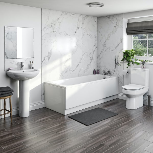 Kaldewei Eurowa and Orchard complete straight bath suite 1700 x 700