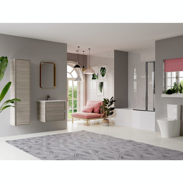 Ideal Standard Concept Air complete right hand wood light grey and Idealform Plus shower bath suite 1700 x 800
