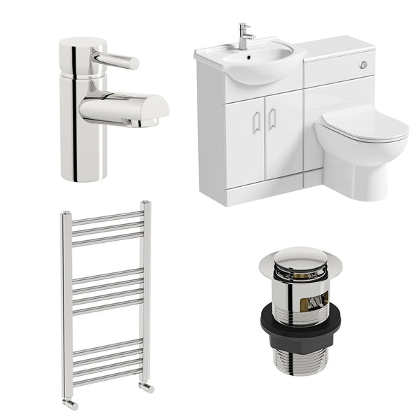 Orchard Eden white 1140 combination unit with Eden contemporary back to wall toilet, heated towel rail, tap and waste