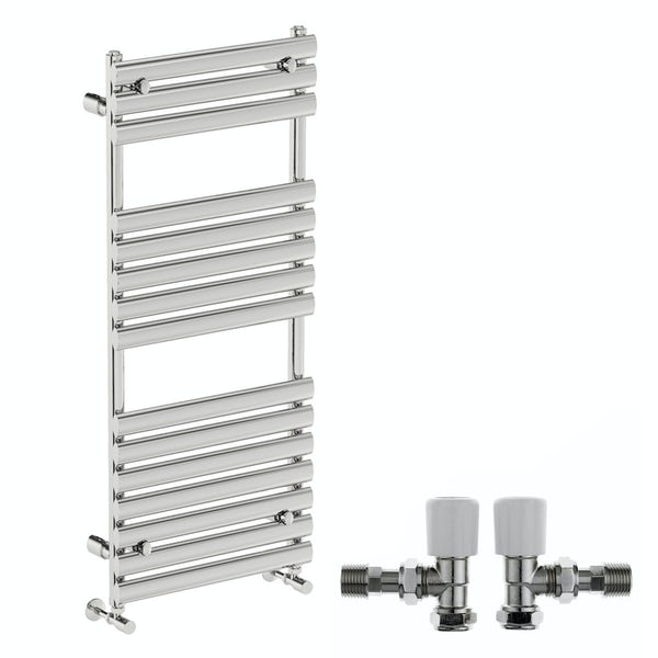 Mode Heath chrome radiator 1190 x 500 with angled valves