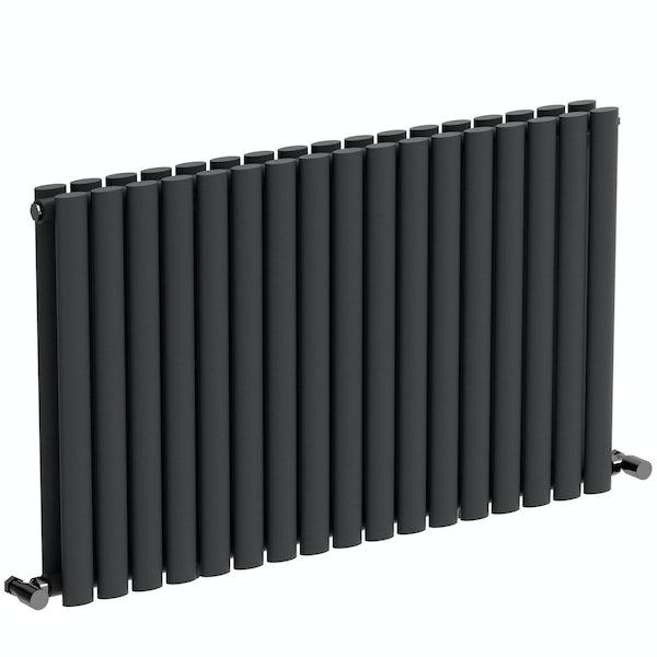 Mode Tate anthracite grey double horizontal radiator 600 x 1000