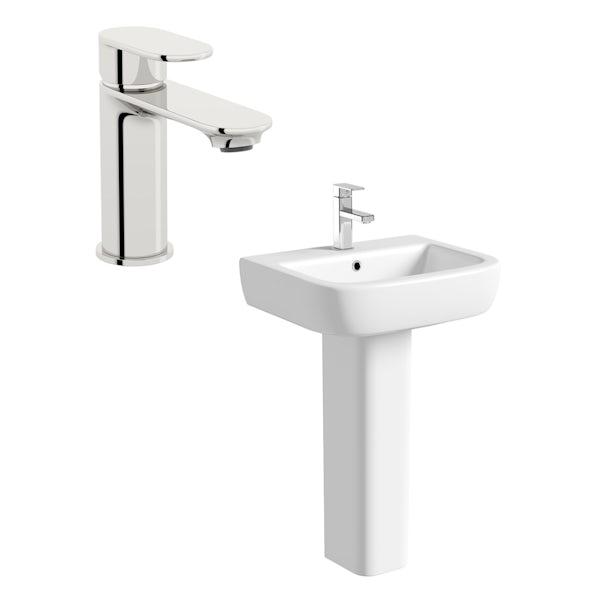 Mode Ellis 1 tap hole full pedestal basin 560mm with tap