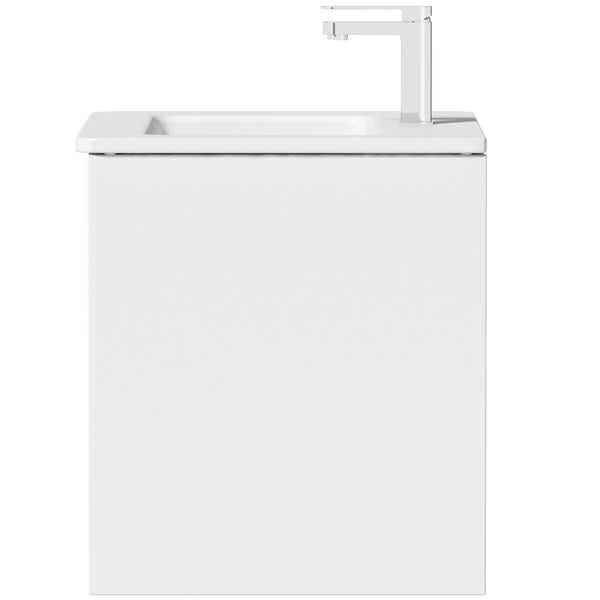 Mode Cortona white 600mm wall hung vanity unit and basin