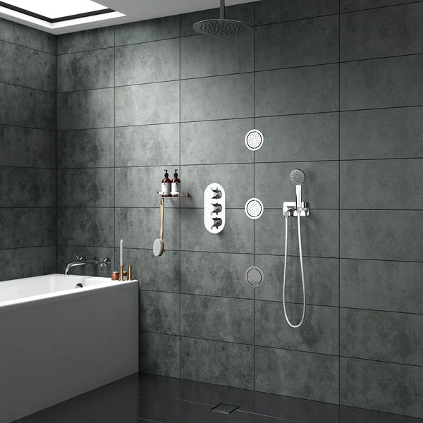 Spa Complete Round Thermostatic Triple Shower Valve with Diverter and Ceiling Shower Set