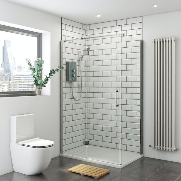 Mira and Mode shower enclosure and tray bundle with Mira Azora 9.8kw electric shower