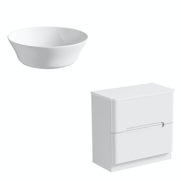 Mode Ellis white countertop drawer unit 800mm with Bowery basin