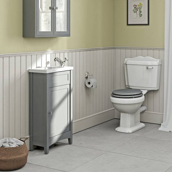 The Bath Co. Camberley satin grey cloakroom suite with traditional close coupled toilet with tap and waste Back to product list Clone product