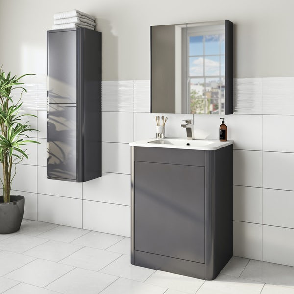 Mode Carter slate gloss grey furniture package with floorstanding vanity unit 600mm