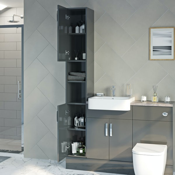Reeves Nouvel gloss grey tall storage unit 1990 x 300mm