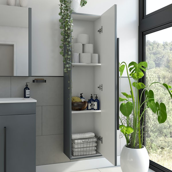 Orchard Derwent stone grey tall wall hung cabinet with black handle 1400 x 350mm