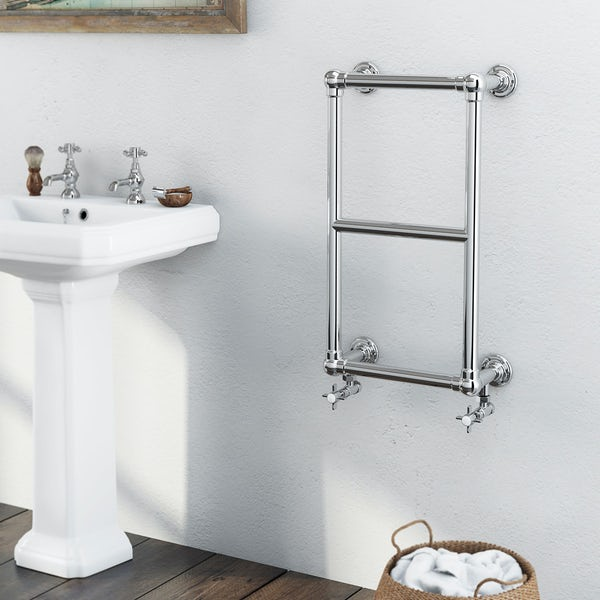 The Bath Co. Winchester chrome wall mounted heated towel rail 700 x 400