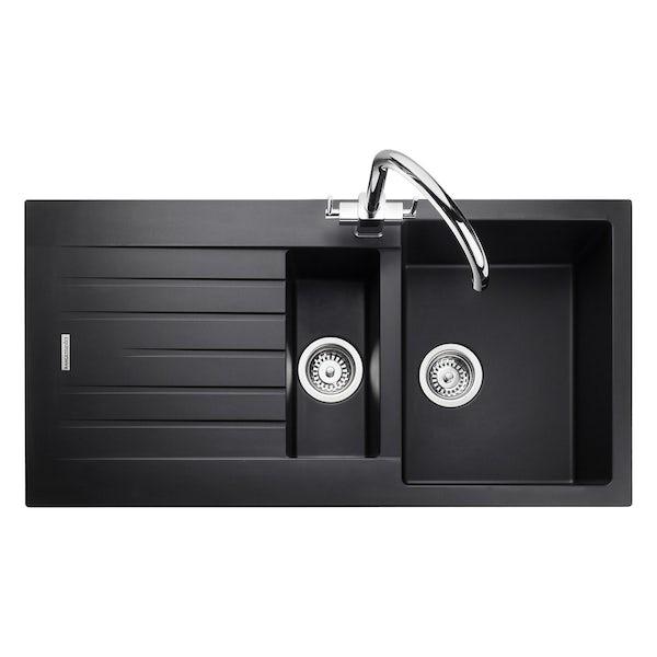 Rangemaster Andesite 1.5 bowl granite kitchen sink with waste and Schon WRAS kitchen tap