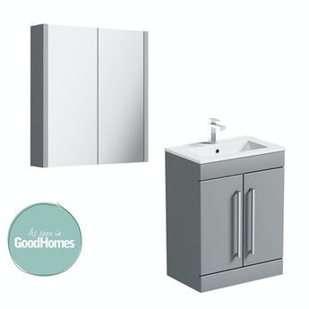 Orchard Derwent stone grey vanity door unit 600mm and mirror