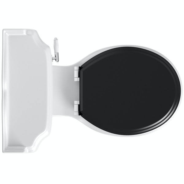 The Bath Co. Winchester close coupled toilet with painted wood seat black