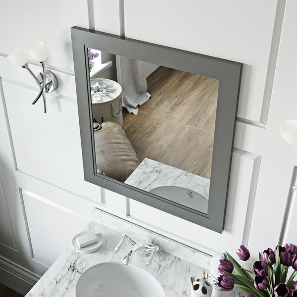 The Bath Co. Chartham slate matt grey bathroom mirror 664 x 590mm
