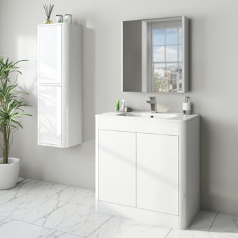 Mode Carter white furniture package with floorstanding vanity unit 800mm