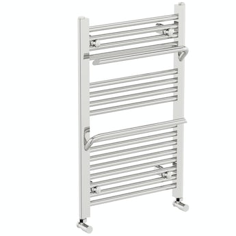 The Heating Co. Rohe chrome heated towel rail with hangers