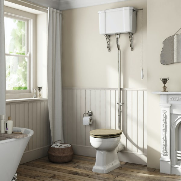 The Bath Co. Camberley high level toilet with wooden soft close seat grey oak effect