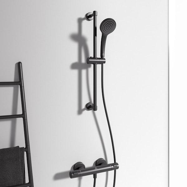 Ideal Standard Ceratherm silk black T25 exposed thermostatic shower mixer with Idealrain silk black round handspray