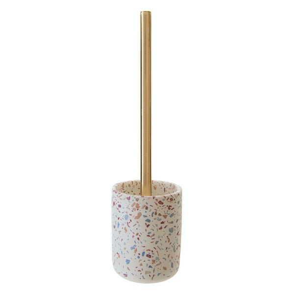 Accents Goza concrete conglomerate beige toilet brush and holder