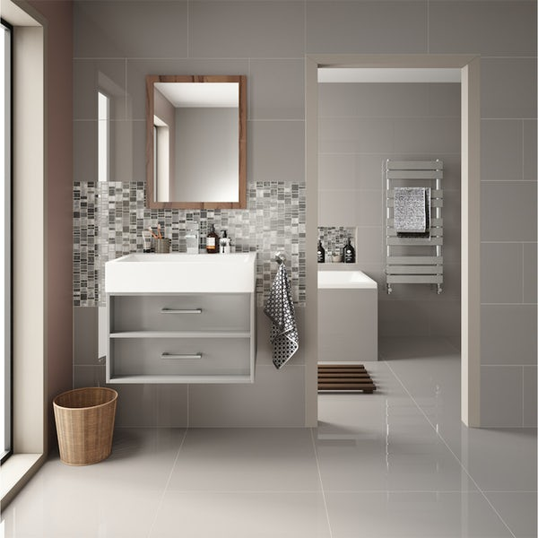 Cordova mid grey flat gloss wall and floor tile 600mm x 600mm